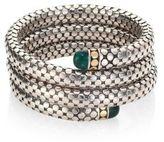 John Hardy Batu Dot Malachite, 18K Yellow Gold & Sterling Silver Triple Coil Bracelet