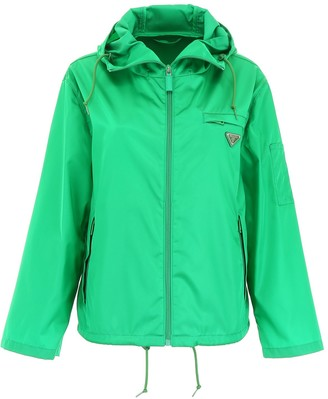 Prada Hooded Logo Patch Jacket