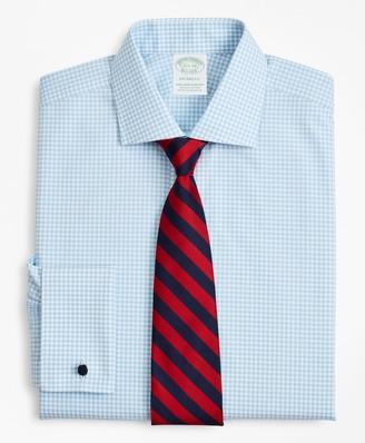 Brooks Brothers Stretch Milano Slim-Fit Dress Shirt, Non-Iron Poplin English Collar French Cuff Gingham