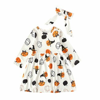 Moent Halloween Girls Dress+ Headband Outfits