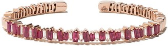 Suzanne Kalan 18kt rose gold Fireworks baguette ruby and diamond cuff
