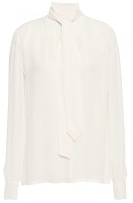 Giambattista Valli Pussy-bow Gathered Silk-crepe Blouse