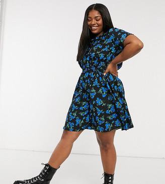 New Look Plus New Look Curve gathered waist mini dress in blue floral print