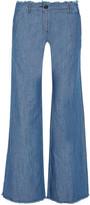 MICHAEL Michael Kors Frayed High-rise Wide-leg Jeans - Blue
