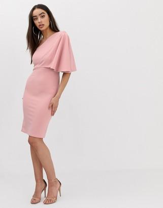Club L London one shoulder ruffle sleeve dress-Pink