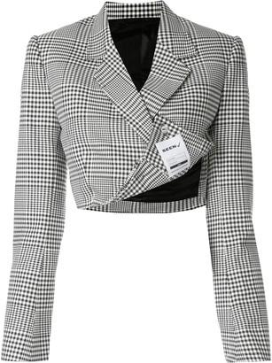 Seen Users Check Print Cropped Blazer