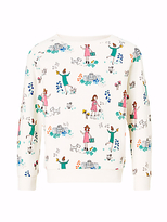 John Lewis Girls' All-Over Garden Print Sweatshirt, Gardenia