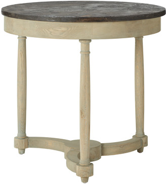 OKA Flavian Oak And Stone Side Table