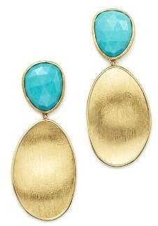 Marco Bicego 18K Yellow Gold Turquoise Two Drop Earrings