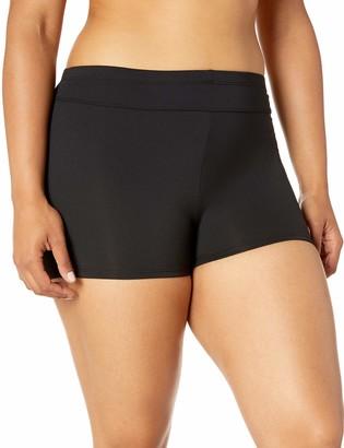 Chaps Women's Plus Size Core Solids Shirred High Waisted Pant Bikini Bottom