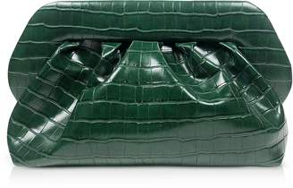 Croco Green Embossed Eco-Leather Pouch Bag