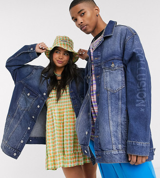 Collusion Unisex oversized denim jacket in washed blue