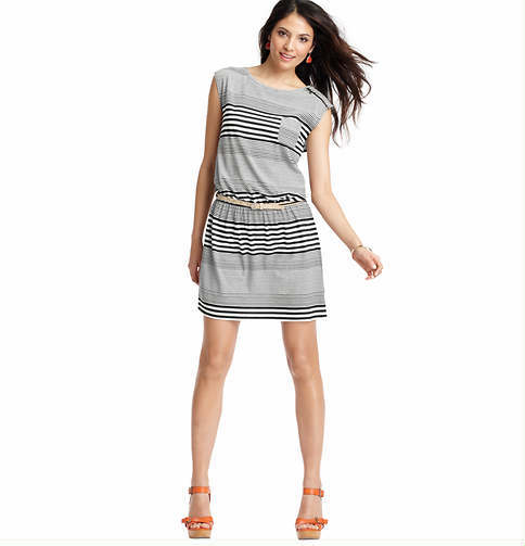 LOFT Mod Stripe Zip Shoulder Cap Sleeve Dress