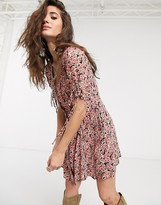 Free People laced up floral buttondown mini dress