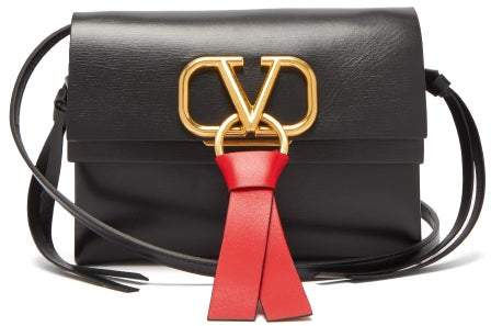 Valentino - V Ring Leather Cross Body Bag - Womens - Black