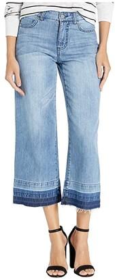 Tribal Wide Leg Culottes w/ Frayed Hem (Blue Mood) Women's Casual Pants
