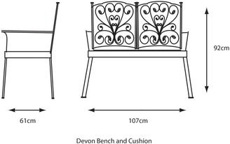 LG Outdoor Devon Bench and Cushion, Bronze
