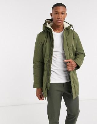Jack and Jones hooded parka jacket in khaki