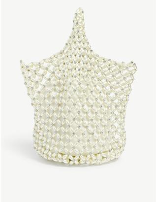 Simone Rocha Faux pearl beaded net bag