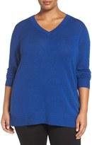 Sejour Wool & Cashmere V-Neck Sweater (Plus Size)