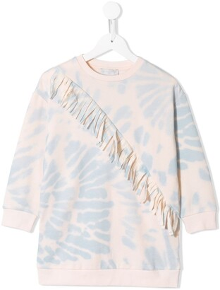 Stella McCartney Kids Fringed Tie-Dye Print Sweatshirt