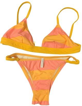 Solid & Striped Orange Lycra Swimwear for Women