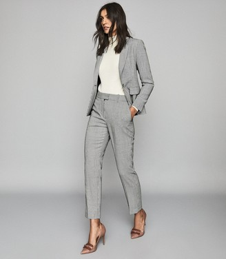Reiss Romy Trouser - Wool Blend Checked Trousers in Grey