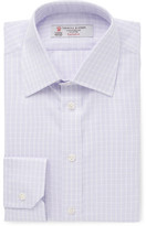 Turnbull & Asser Purple Slim-Fit Checked Cotton-Twill Shirt
