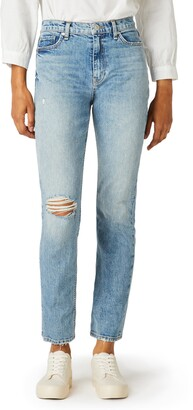 Hudson Holly Ripped High Waist Ankle Straight Leg Jeans