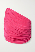 Thumbnail for your product : Norma Kamali Diana One-shoulder Ruched Bikini Top - Fuchsia