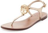Tory Burch Studded Logo Thong Sandal, Platinum