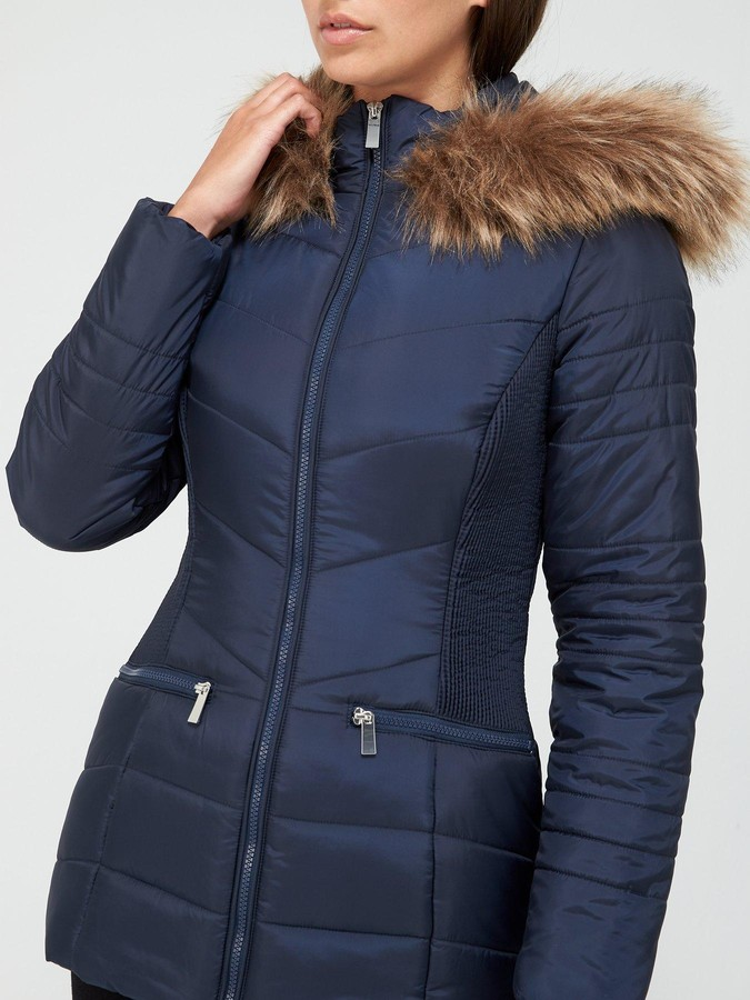 Thumbnail for your product : Very Value Short Faux Fur Trim Padded Coat - Navy
