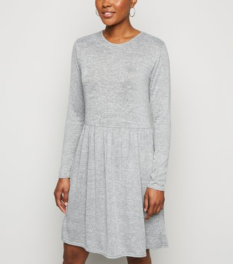 New Look Fine Knit Long Sleeve Tiered Mini Dress