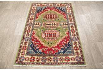 """Cimarron Bloomsbury Market One-of-a-Kind Hand-Knotted 3'4"""" x 4'10"""" Wool Green/Red Area Rug Bloomsbury Market"""