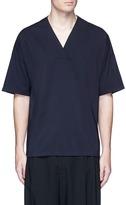 Wooyoungmi Check plaid front surplice neck T-shirt