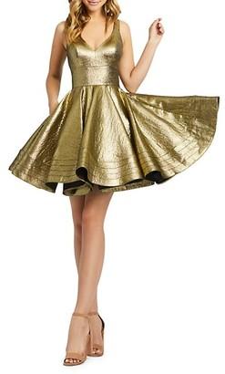 Mac Duggal Metallic Fit-&-Flare Dress