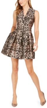 Vince Camuto Vince Camtuo Metallic Jacquard Fit & Flare Dress