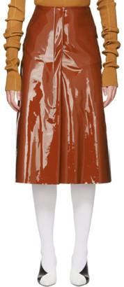 Marni Brown Vinyl Skirt