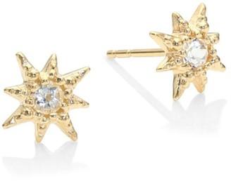 Anzie Aztec Starburst White Topaz Stud Earrings