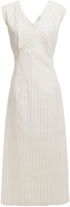 Sandro Noaim Pinstriped Cotton And Linen-blend Midi Dress