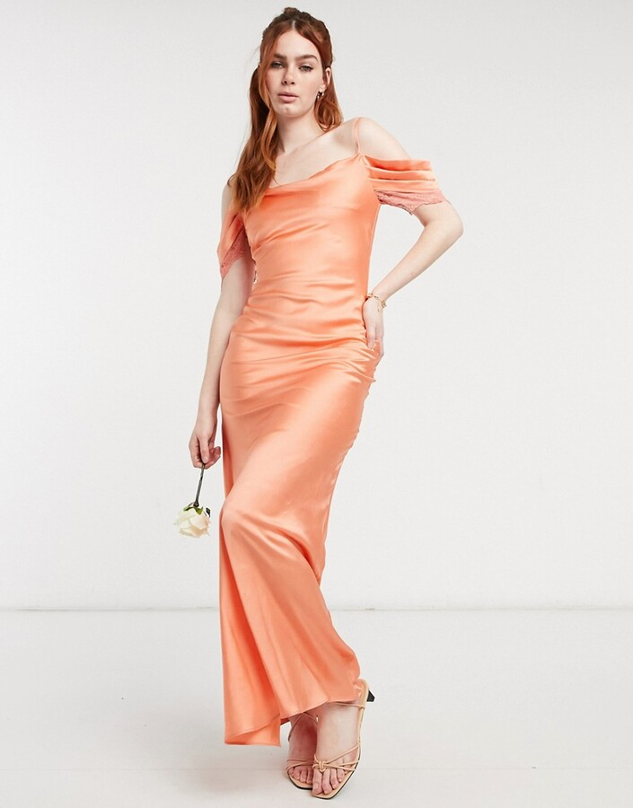 Thumbnail for your product : Hope & Ivy Bridesmaid cold shoulder satin slip midaxi dress in peach