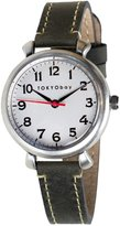 Tokyobay Tokyo Bay T035-GY Women's Smart Stainless Black Leather Band White Dial Watch