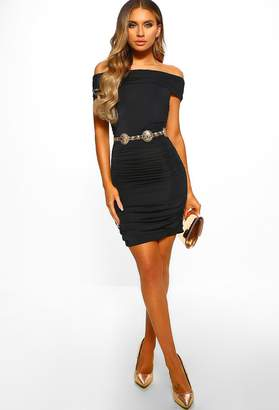 Pink Boutique Barbie Girl Black Slinky Ruched Bardot Mini Dress