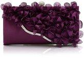 TopTie Satin Clutch Petal Flower Wavy Rhinestone Decoration Purse