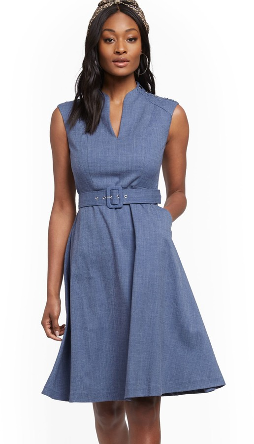 New York & Co. Button-Accent Belted Fit and Flare Dress