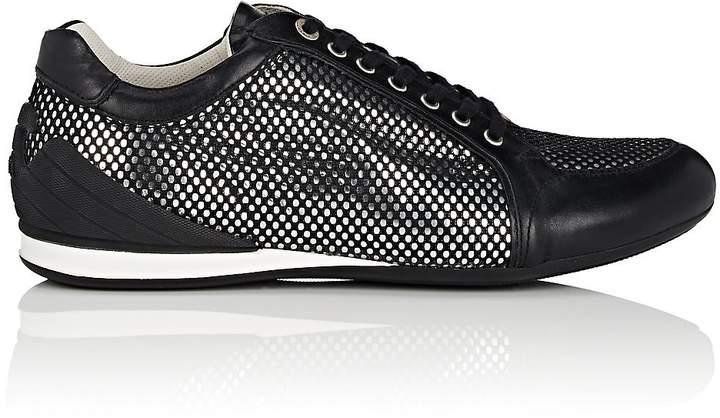 Emporio Armani Men's Mesh-Layered Leather Sneakers