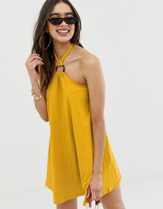 Asos Design DESIGN mini halter swing dress with faux tortoiseshell ring detail-Yellow