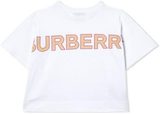 BURBERRY KIDS mesh logo T-shirt