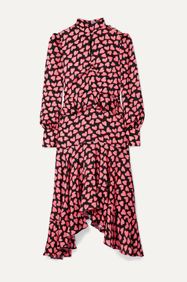 Rebecca Vallance Hotel Beau Asymmetric Ruffled Printed Crepe Midi Dress - Black
