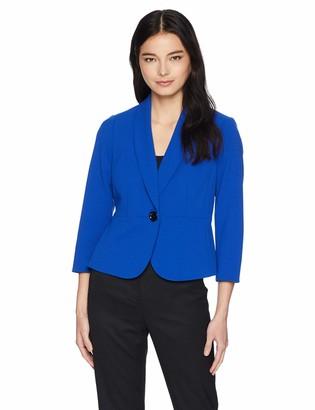 Kasper Women's Petite 1 Button Shawl Collar Crepe Jacket